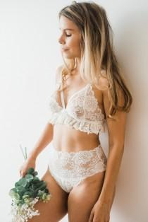 wedding photo - Bridal Lingerie Set with strappy lace bralette and white high waisted knickers