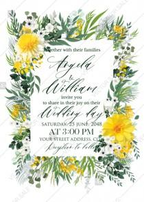 wedding photo -  Mimosa yellow greenery herbs wedding invitation set PDF 5x7 in