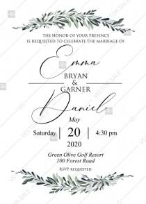 wedding photo -  Minimalist olive branch greenery Wedding Invitation set PDF 5x7 in