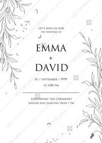 wedding photo -  Minimalistic olive eucalyptus leaves brunch line art trend ink wedding invitation set PDF 5x7 in instant maker