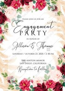 wedding photo -  Online Editor - Engagement party invitation Marsala peony rose pampas grass pdf custom online editor 5x7