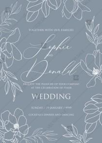 wedding photo -  Magnolia flower line art wedding invitation PDF 5x7 in
