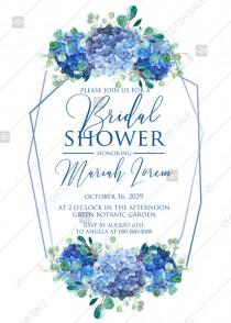wedding photo -  Bridal shower wedding invitation set watercolor blue hydrangea eucalyptus greenery PDF 5x7 in