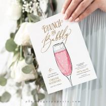 wedding photo - Brunch and Bubbly Bridal Shower Invitation Printable, Champagne Wedding Shower Brunch Invitation Template, Instant Download -  PS329-01