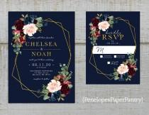 wedding photo - Elegant Navy Floral Geometric Frame Fall Wedding Invitation,Burgundy,Blush,Marsala,Roses,Gold Print,Shimmery,Printed Invitation,Wedding Set