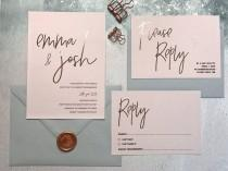 wedding photo - Rose Gold & Blush Wedding Invitation - Rose Gold Foil Wedding Invitation - Modern Wedding Invite