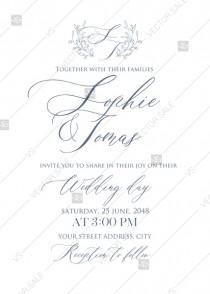 wedding photo -  Laurel wreath herbal letterpress design wedding invitation set PDF 5x7 in wedding invitation maker