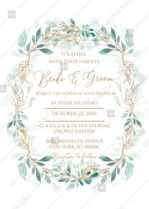 wedding photo -  Wedding invitation set gold leaf laurel watercolor eucalyptus greenery PDF 5x7 in personalized invitation