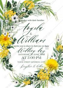 wedding photo -  Mimosa yellow greenery herbs wedding invitation set card template PDF 5x7 in online maker
