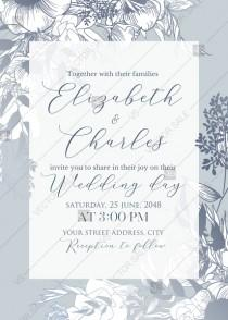 wedding photo -  Classic anemone floral wedding invitation set gray PDF 5x7 in PDF maker