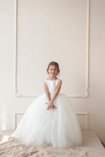 wedding photo - Flower girl dress, Tulle flower girl dress, 100% money back guarantee