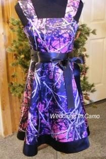 wedding photo - MUDDY GIRL Camo flower girl dress with BORDER  Pick your Camo colors for your Country Wedding