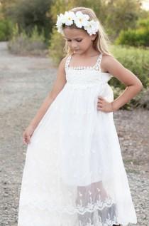 wedding photo - Beach flower girl dress, Bohemian Boho flower girl dress, Ivory / White flower girl dress,Rustic Flower Girl Dress,Country Flower Girl Dress