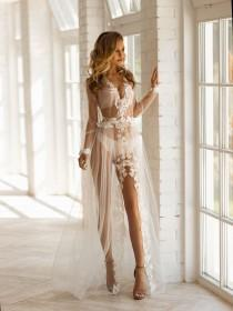 wedding photo - Floral lace robe,Wedding robes,Photoshoot gown,Sheer robe,Bridal lingerie wedding night,Custom plus size robe,Lace lingerie,Long bridal robe