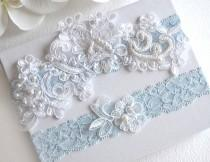 wedding photo - Blue Wedding Garter, Bridal Garter Set, Tossing Garter, Light Blue Garter, Keepsake Garter, Something Blue Garter
