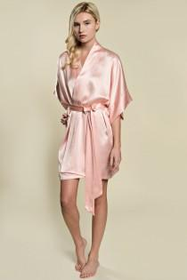 wedding photo - Samantha Silk Bridal Robe Satin Kimono Getting Ready Bridesmaids Ballet Pink