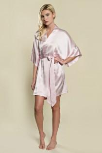 wedding photo - Samantha Silk Bridal Robe Satin Kimono Getting Ready Bridesmaids Rose Pink
