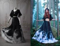 wedding photo - Ombre moon dress boarding school gothic doll  phases  gray ash top skirt