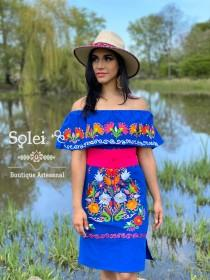 wedding photo - Mexican Off the Shoulder Dress. Campesino Dress. Large Floral Embroidered Dress. Belt included. Mexican  Dress.