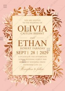 wedding photo -  Greenery gold foil pressed wedding invitation set powder pink PDF 5x7 in edit online