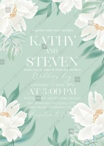 wedding photo -  White peony greenery floral wedding invitation card template PFD 5x7 in edit online
