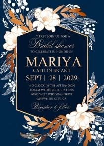 wedding photo -  Peony foil gold navy blue background bridal shower wedding Invitation set PDF 5x7 in