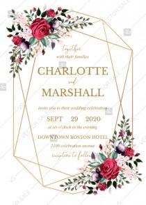wedding photo -  Wedding invitation set watercolor marsala red burgundy rose peony greenery PDF 5x7 in