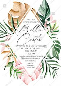 wedding photo -  Tropical watercolor Aloha monstera pink greenery leaves palm digital wedding invitation template PDF 5x7 online editor