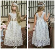 wedding photo - SALE Ivory flower girl dress, girl lace dress, country flower girl, Rustic flower girl dress,Bohemian Flower girl dress,Flower girl dresses
