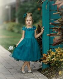 wedding photo - Teal Flower Girl Dress,Green Christmas dress, Tulle Flower Girl Dresses,Boho Flower Girl Dress, Rustic Flower Girl Dress, Winter Flower Girl