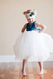 wedding photo - The Paradise Dress: Peacock blue Flower girl dress with romantic tutu skirt. Fully lined. Tutu bridesmaid dress. Tulle flower girl dress