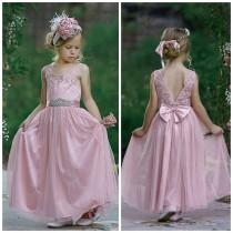 wedding photo - SALE Dusty Rose Flower girl Dress, Flower Girl dresses, Girls Dresses, Tulle Flower Girl Dress, Beach flower Girl, Junior Bridesmaid