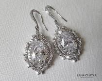 wedding photo - Crystal Bridal Earrings, Wedding Halo Earrings, Bridal Cubic Zirconia Earrings, Crystal Teardrop Large Earrings, Wedding Statement Earrings
