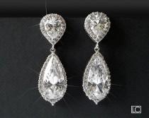 wedding photo - Wedding Crystal Earrings, Teardrop Bridal Earrings, Chandelier Wedding Earrings, Cubic Zircon Halo Earrings, Bridal Jewelry Sparkly Earrings