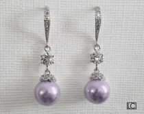 wedding photo - Lavender Pearl Wedding Earrings, Swarovski Pearl Chandelier Earrings, Lilac Pearl Bridal Earrings, Lavender Bridesmaid Jewelry Prom Earrings