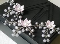 wedding photo - Lavender Bridal Hair Pins, Swarovski Lavender Pearl Crystal Hair Pins, Set of 3 Wedding Lilac Floral Hair Pins, Violet Bridal Hair Jewelry