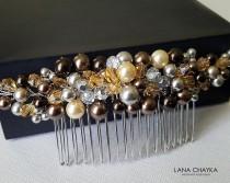 wedding photo - Brown Bridal Hair Comb, Brown Amber Grey Hair Piece, Wedding Hair Comb, Swarovski Brown Pearl Hair Piece, Pearl Headpiece Brown Hair Jewelry
