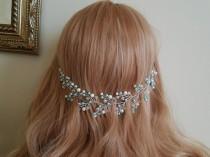 wedding photo - Mint White Pearl Hair Vine, Aqua Pearl Bridal Hair Wreath Blue Turquoise White Hair Jewelry Floral Pearl Hair Vine Blue Mint White Headpiece