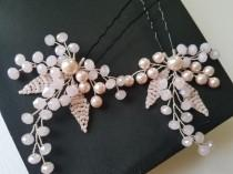 wedding photo - Blush Pink Hair Pins, Bridal Pink Hair Piece, Wedding Headpiece, Light Pink Hair Jewelry Pink Floral Hairpiece Pastel Pink Silver Headpiece