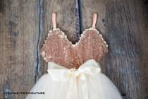 wedding photo - Rose Gold Infant Flower Girl Dress, Ivory Tulle Wedding Dress, Will You Be My Flower Girl Proposal Dresses
