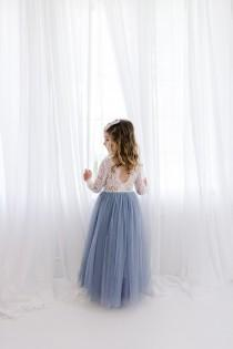 wedding photo - Dusty Blue Gray Tulle Long Sleeve Wedding dress, White Lace Flower Girl Dress, Smoke Blue Floor Length Ball Gown