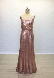 wedding photo - Sheath Spaghetti Straps Rose Gold Sequin Long Bridesmaid Dress