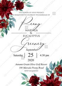 wedding photo - Marsala Peony rose dahlia eucalyptus Wedding Invitation set PDF 5x7 in PDF maker