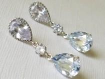 wedding photo - Dusty Blue Crystal Earrings, Blue Teardrop Earrings, Swarovski Blue Shade Silver Earrings, Pastel Blue Wedding Bridal Jewelry Dangle Earring