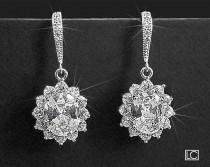 wedding photo - Crystal Bridal Earrings, Wedding Oval Earrings, Cubic Zirconia Earrings, Dangle Earrings, Wedding Jewelry, Sparkly Earrings, Prom Jewelry
