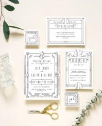 wedding photo - Art Deco Wedding Invitation - Wedding Invitation Template - Art Deco - Great Gatsby - Simple Wedding Invitation - Gold - Invitation Suite