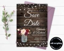 wedding photo - Rustic Save the Date Wedding Template - Country Save the Date Card - Southern Save the Date Invite - Printable Save Date - Save Our Date