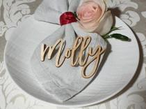 wedding photo - Place cards Wedding place cards Laser Cut Names Custom Place Settings WOOD names Bridal Party Place Card Wedding Cards Party Decoration