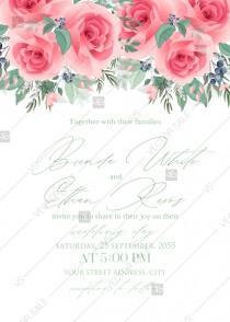 wedding photo - Pink rose wedding invitation PDF5x7 in