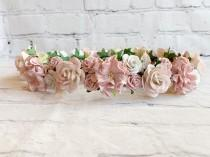 wedding photo - Blush Flower Crown, Pink Flower Crown,Flower Girl Flower Crown,Bridal Flower Crown,Floral Headpiece,Flower Crown Bridal,Baby Flower Crown